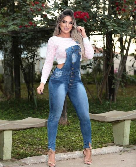 Jardineira Estilo Macacão Longo Jeans