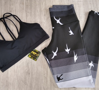 Conjunto Fitness: Legging Jacquard+ Top