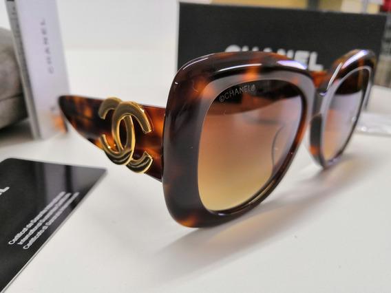 Óculos De Sol Chanel Original 4106 Acetato Marrom Tartaruga