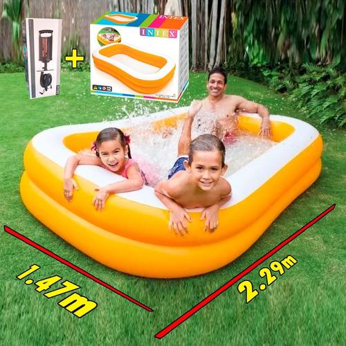 Albercas Inflable Rectangular Grande Infantil 2.29m X 1.47 M