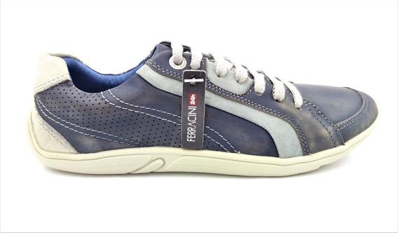 Sapatênis Ferracini Couro Jeans 7217. Último Par N39
