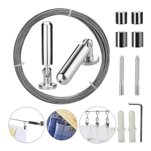 Kit Barral Tensor Cable De Acero Inoxidable Para Cortina