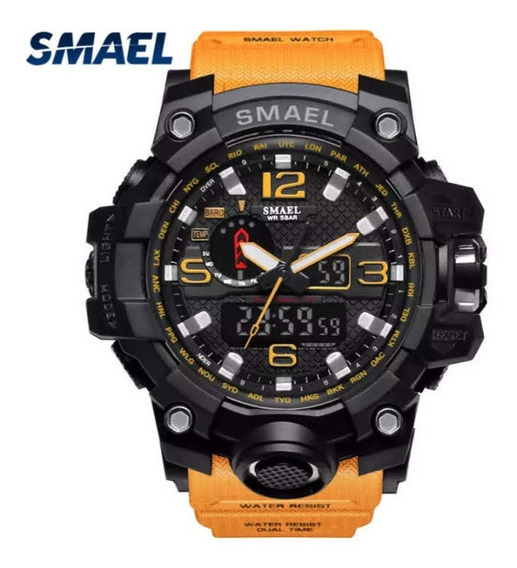 Relógio Smael 1545 Esportivo Laranja A Prova D