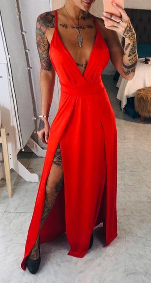 Vestido Largo De Fiesta Mujer Elegante Doble Tajo Art 6623