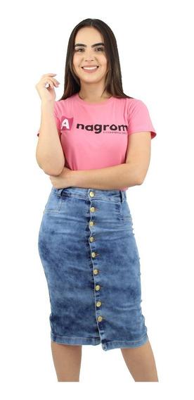 Saia Jeans Moda Evangélica Botões Na Frente Anagrom Ref.134