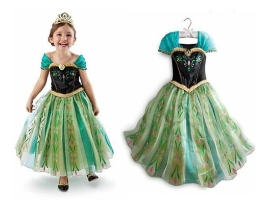 Vestido Disfraz Anna Frozen Princesa Disney Elsa Nina Ana