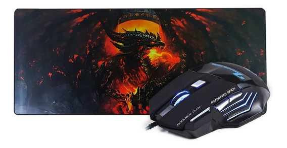 Kit Mouse + Mousepad Grande Gamer Usb Led Rgb 3200dpi Pc