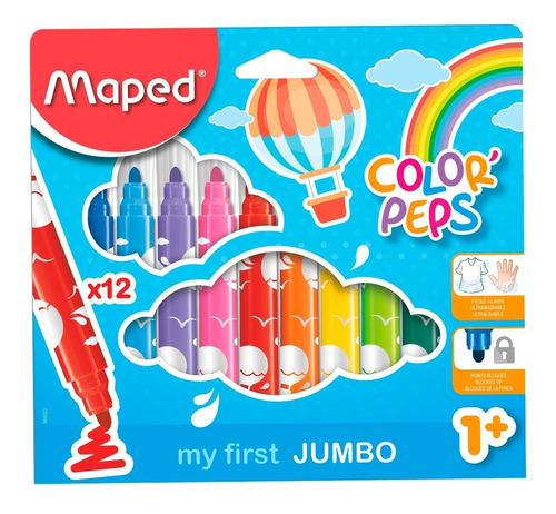 Marcadores Maped Color Peps Jumbo X 12 Colores Educando Full