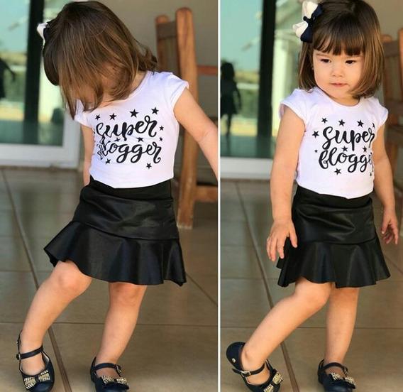 Roupa Infantil Menina Saia Godê Cirrê - Brinde Faixa Cabelo