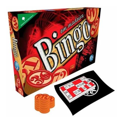 Imagem 1 de 6 de Jogo Bingo Em Madeira Com 36 Cartelas Sorteio 90 Pedras Saco