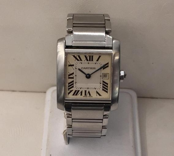 Reloj Cartier Tank Mod 2465 Caballero Caratula Crema