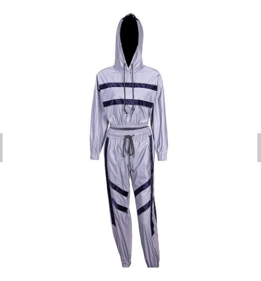 Conjunto Campera Pantalon Reflectivo Reflex Importadas Mujer