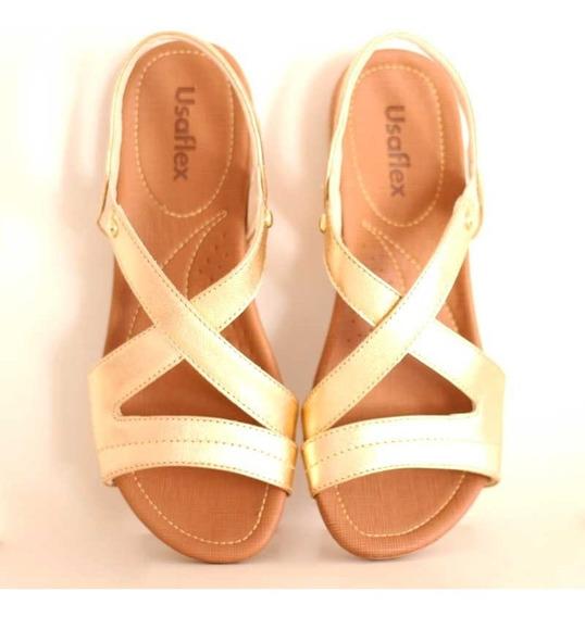 Sandália Usaflex Conforto Anabela Anatômica R1804