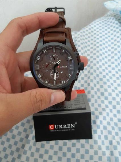 Relógio Curren Pulseira Couro Promoção