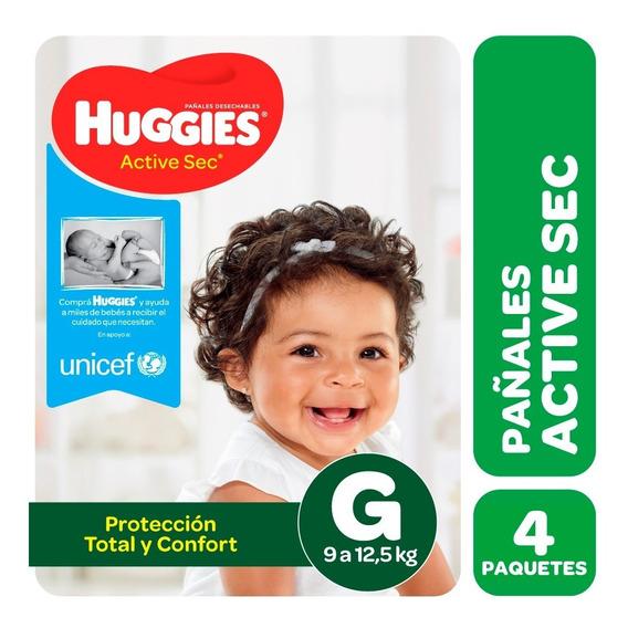 Pañales Huggies Active Sec Y Baby Pants Pack X 4 M G Xg Xxg