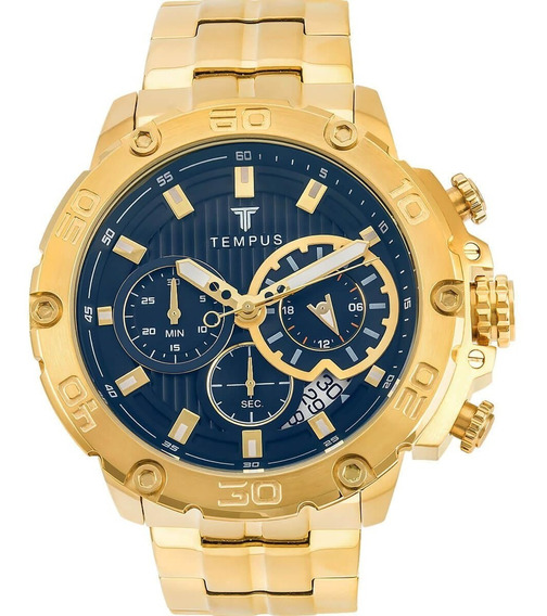 Relógio Masculino Tempus Zw30358a Gold Black
