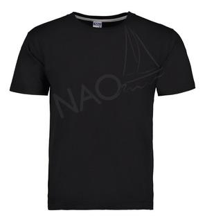 Playera Nao Cuello Redondo Negra - Económica