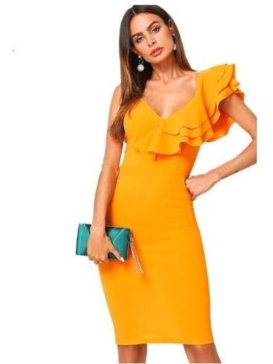 Vestido Fiesta Casual Mostaza Amarillo Ocre