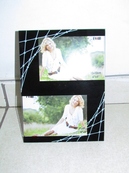 Porta Retrato Preto Para 2 Fotos 15x10cm
