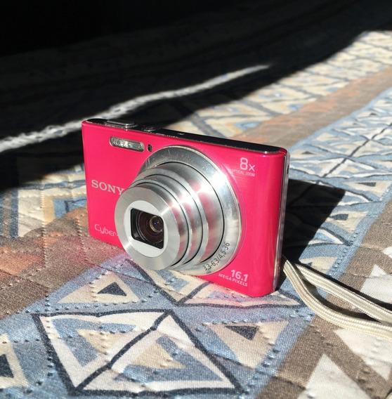 Câmera Digital Sony Cyber Shot 16.1mp Dsc-w730 Rosa