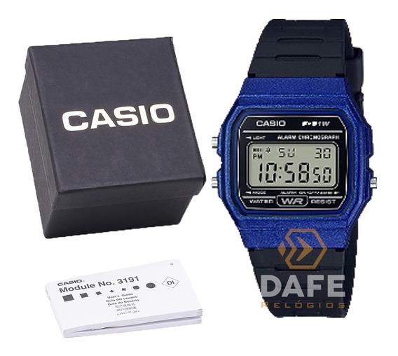 Relógio Casio F-91w Azul Royal Unissex Original C/caixa E Nf