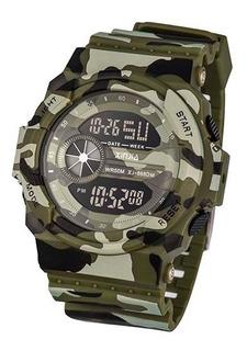 Reloj Digital Xinjia Camuflado 868dm Resistente Al Agua