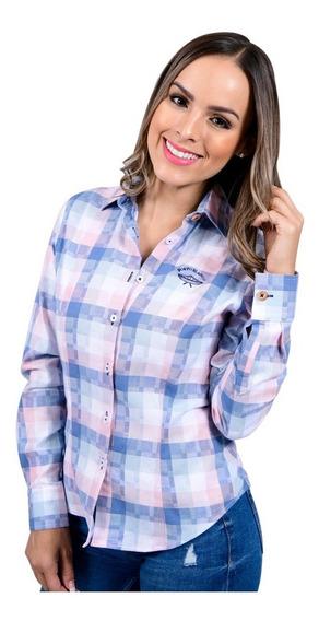 Camisa Porto Blanco Dama Blanca Algodon Cuadros Azul