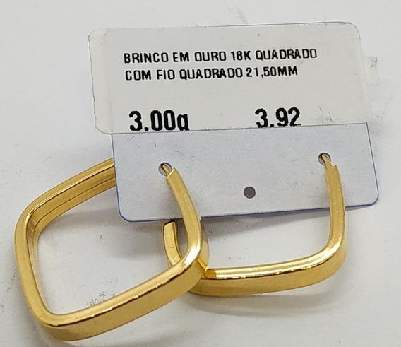 Brinco Em Ouro 18k Quadrado Com Fio Quadrado 21,50mm 3,00g