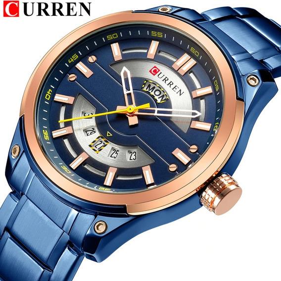 Relógio Curren 8319 Original De Luxo Aço Inox Com Calendário