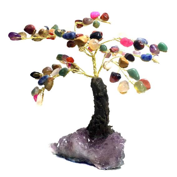 Árvore Pedras Cristais Mistos Com Drusa De Ametista 15cm 089