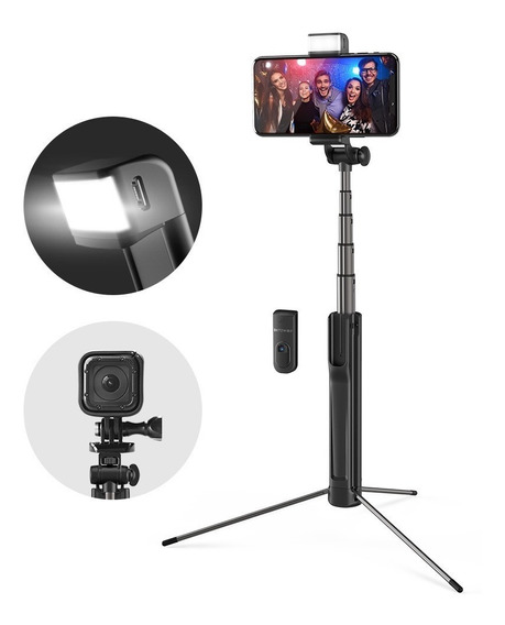 Pau De Selfie Com Flash Led Tripé Bluetooth Blitzwolf Bs8