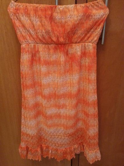 Vestido Tela Encaje Color Naranja, Talla M