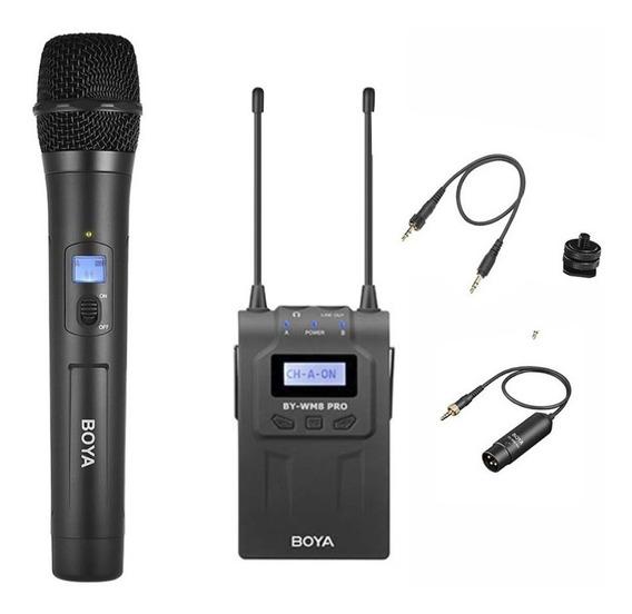 Microfone De Mão Sem Fio Com Receptor Rx8 Cabo P2 E Xlr