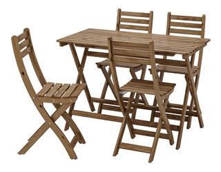 Set De Mesa Y 4 Sillas, Exteriores, Teñidas De Gris-marrón