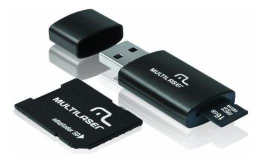 Pendrive Cartão De Memória Microsd 16gb C/ Leitor Usb 3 Em 1