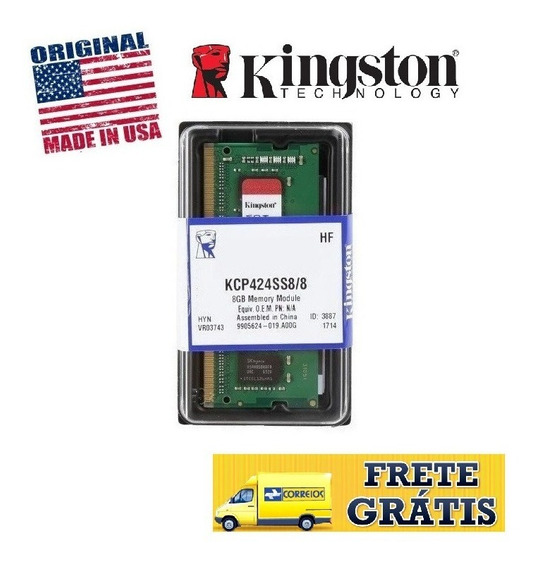 Memória Notebook 8gb Ddr4 2400mhz Kcp424ss8/8 Kingston C/nfe