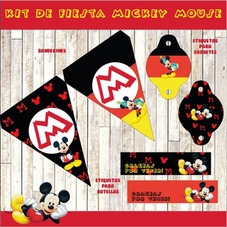 Kit Imprimible Mickey Mouse Editable Fiesta Cumpleaños