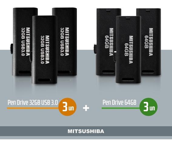 Kit Pen Drive 32gb(usb 3.0) 3pcs + 64gb 3pcs Mitsushiba