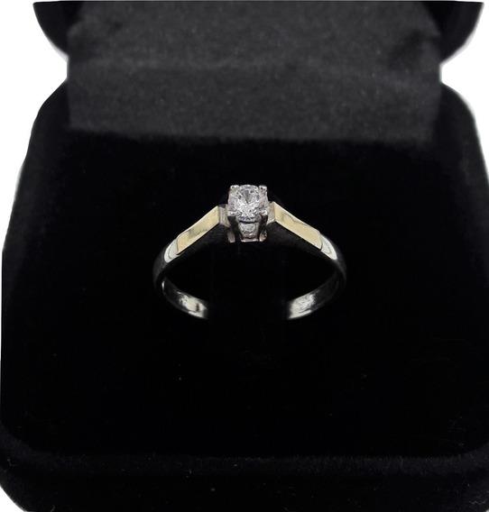 Anel Prata Ouro Solitário Triangular Compromisso Noivado Fem