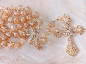 Terço Pra Noiva Com Cristal Dourado Lindissímo