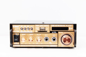 Amplificador Áudio Receiver Bluetooth Som Karaokê Fm Aux