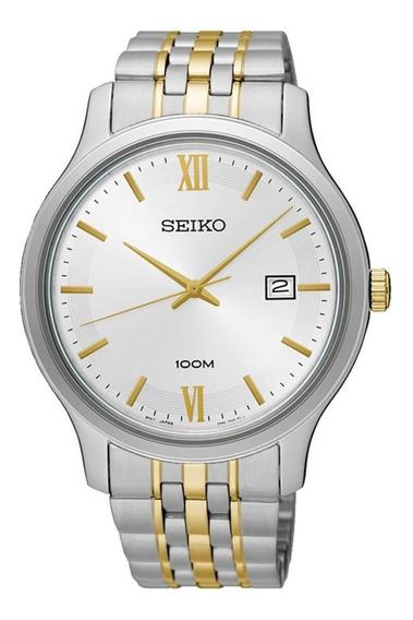 Reloj Hombre Seiko Sur223p1 Cuarzo Acero Detalles Dorados