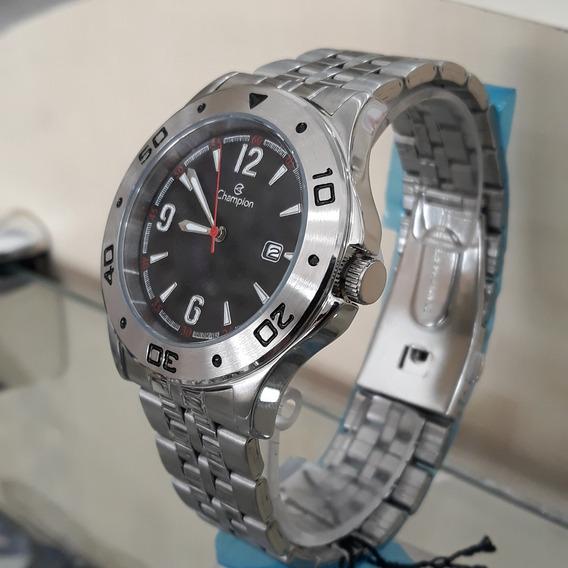 Relógio Social Masculino Champion Ca30203t Cromado C/ Calend