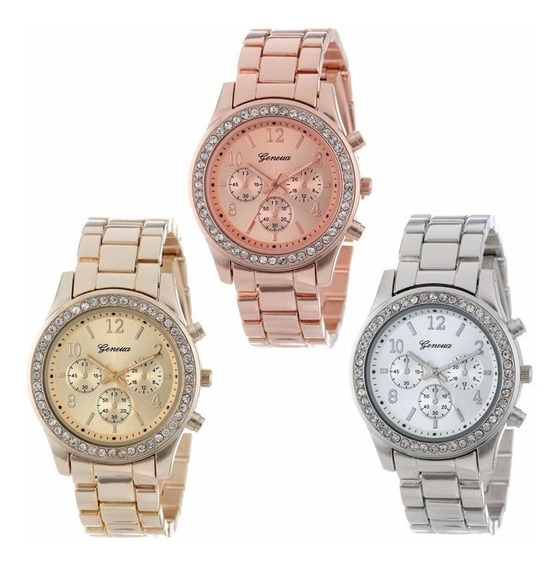 Relógio Feminino Geneva Dourado Rose Prateado De Aço Strass