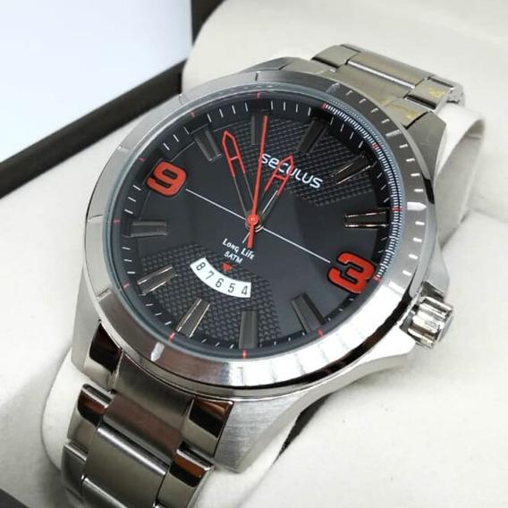 Relógio Seculus Aço Visor Texturizado Original 77035g0svna2
