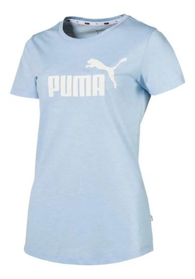 Puma Remera M/c Lifestyle Mujer Essentials Heather Celeste