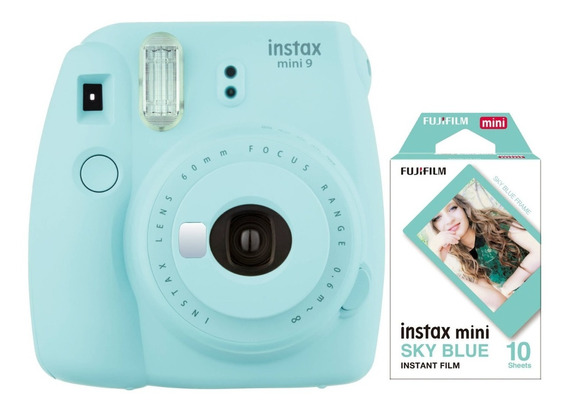 Instax Mini 9 Celeste Hielo Tipo Polaroid 10 Fotos Nueva