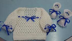 Saída De Maternidade Branco + Azul Tricô Feito A Mão 3 Peças