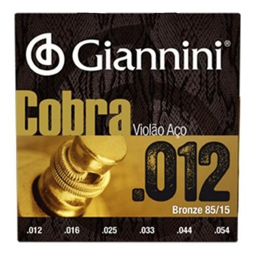 Imagem 1 de 2 de Encordoamento Giannini Cobra 012 P/ Violão Aço