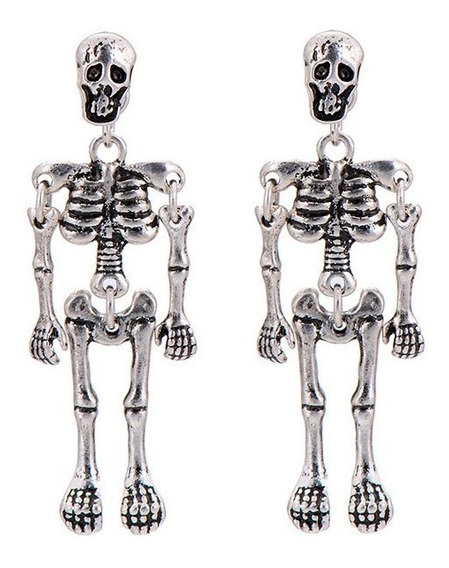 Pendiente Aretes Calavera Huesos Noviembre Muertos Silver